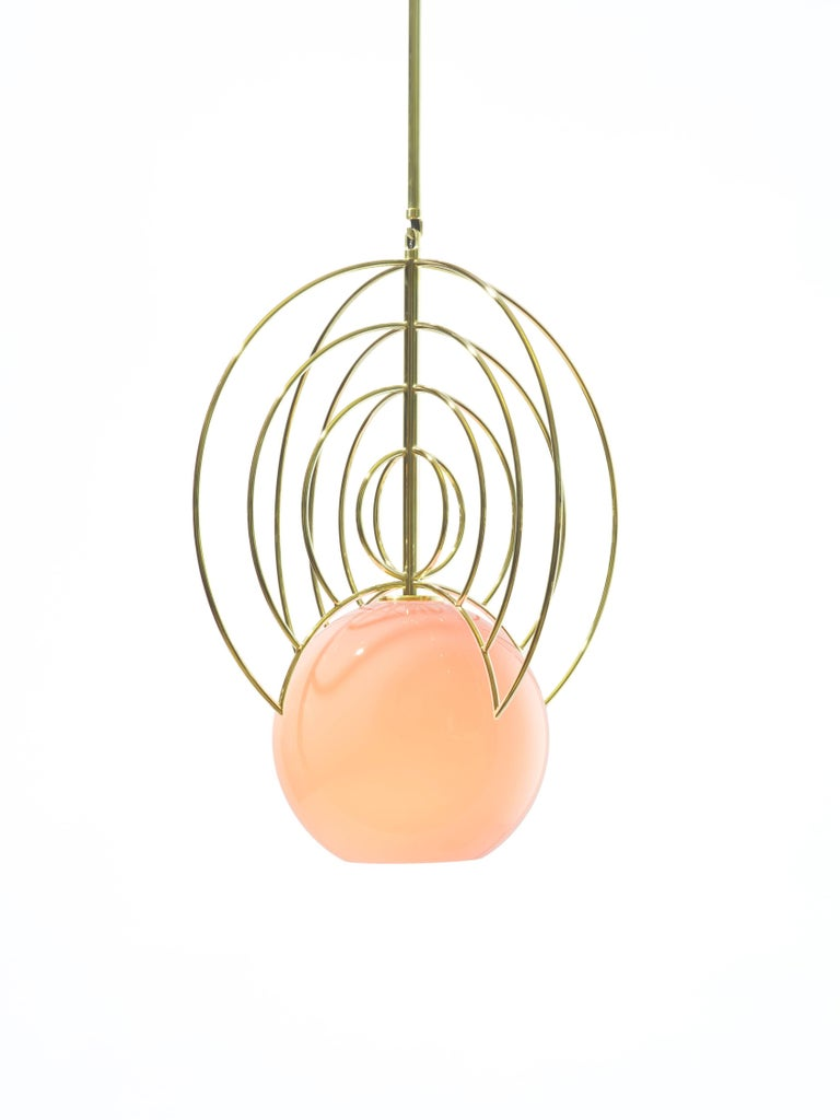 American Aeneas Pink Brass Light by Iacoli & McAllister, Handmade in USA For Sale