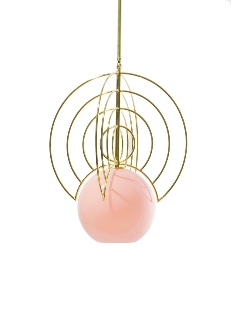 Other Aeneas Pink Brass Light by Iacoli & McAllister, Handmade in USA For Sale