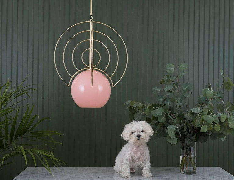 Plated Aeneas Pink Brass Light by Iacoli & McAllister, Handmade in USA For Sale