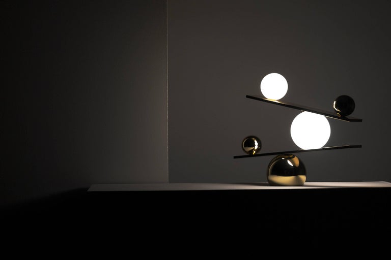 Balance plated brass table lamp by victor castanera for for Victor castanera