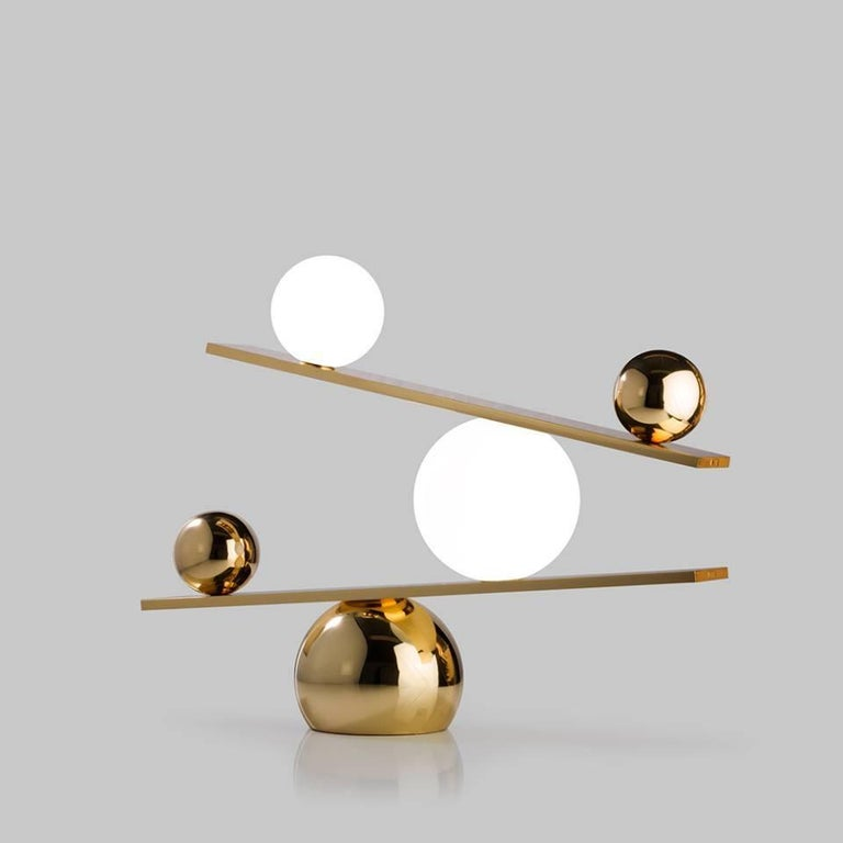 Other Balance Plated Brass Table Lamp by Victor Castanera for Oblure For Sale