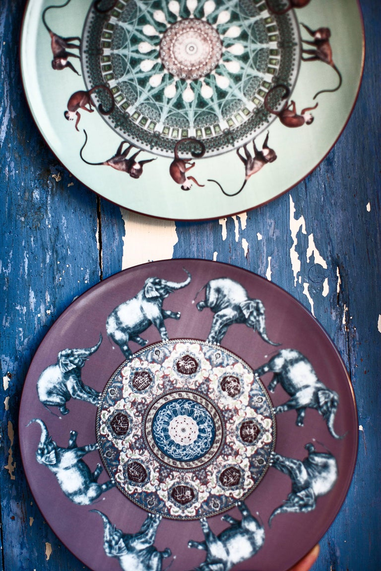 Other Elefanti Porcelain Dinner Plate by Vito Nesta for Les Ottomans, Made in Italy For Sale