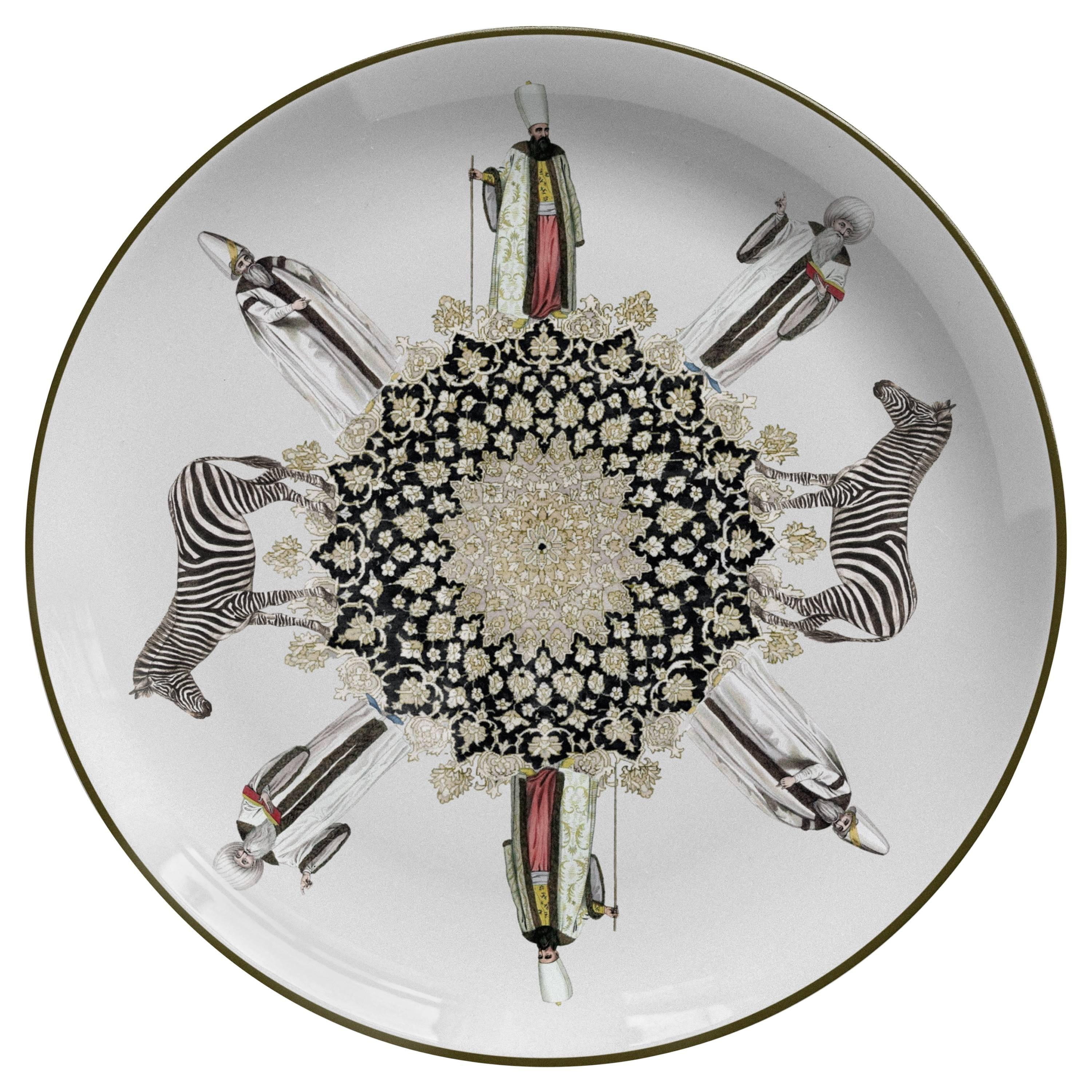 Sacerdoti Porcelain Dinner Plate by Vito Nesta for Les Ottomans, Made in Italy