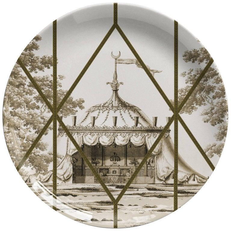 Toptaki Yellow Porcelain Dinner Plate by Vito Nesta for Les Ottomans For Sale