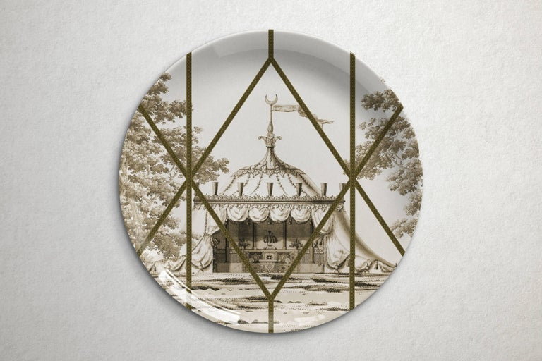 Beautiful Toptaki yellow porcelain dinner plate by Vito Nesta for Les Ottomans will make an elegant statement with sophisticated Art de la table for every occasion  Handmade in Italy.