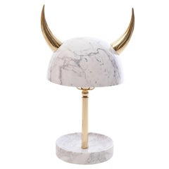 My Little Viking Marble and Brass Table Lamp by Merve Kahraman