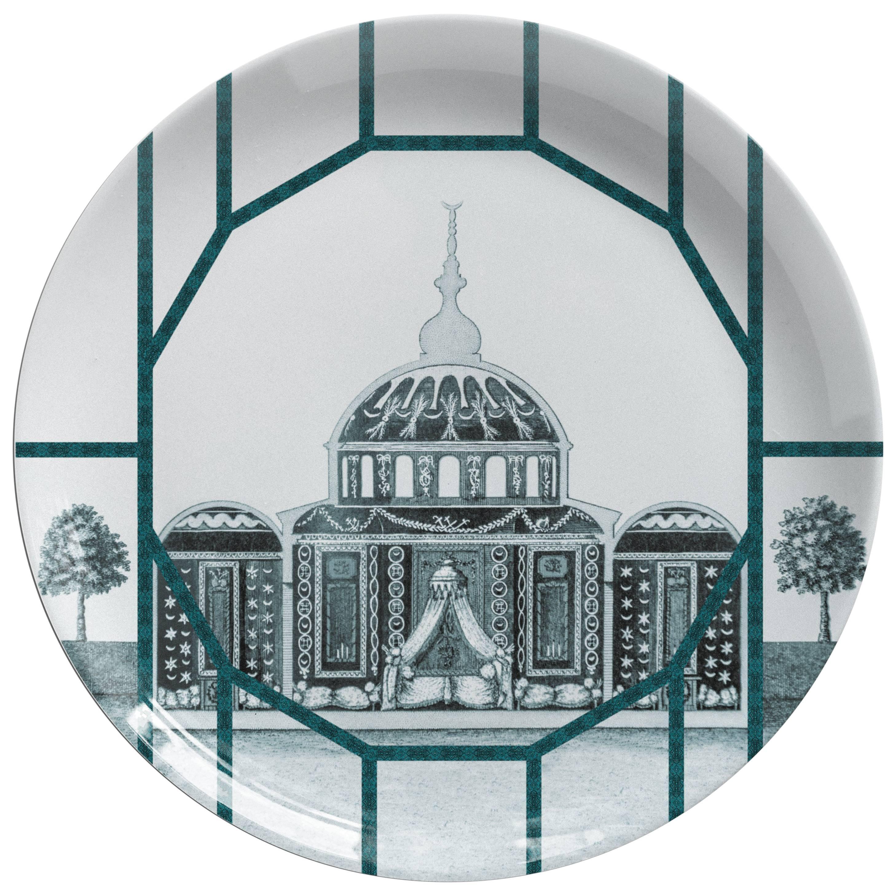 Toptaki Green Porcelain Dinner Plate by Vito Nesta for Les Ottomans