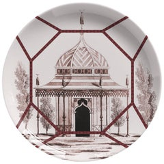 Toptaki Red Porcelain Dinner Plate by Vito Nesta for Les Ottomans, Italy