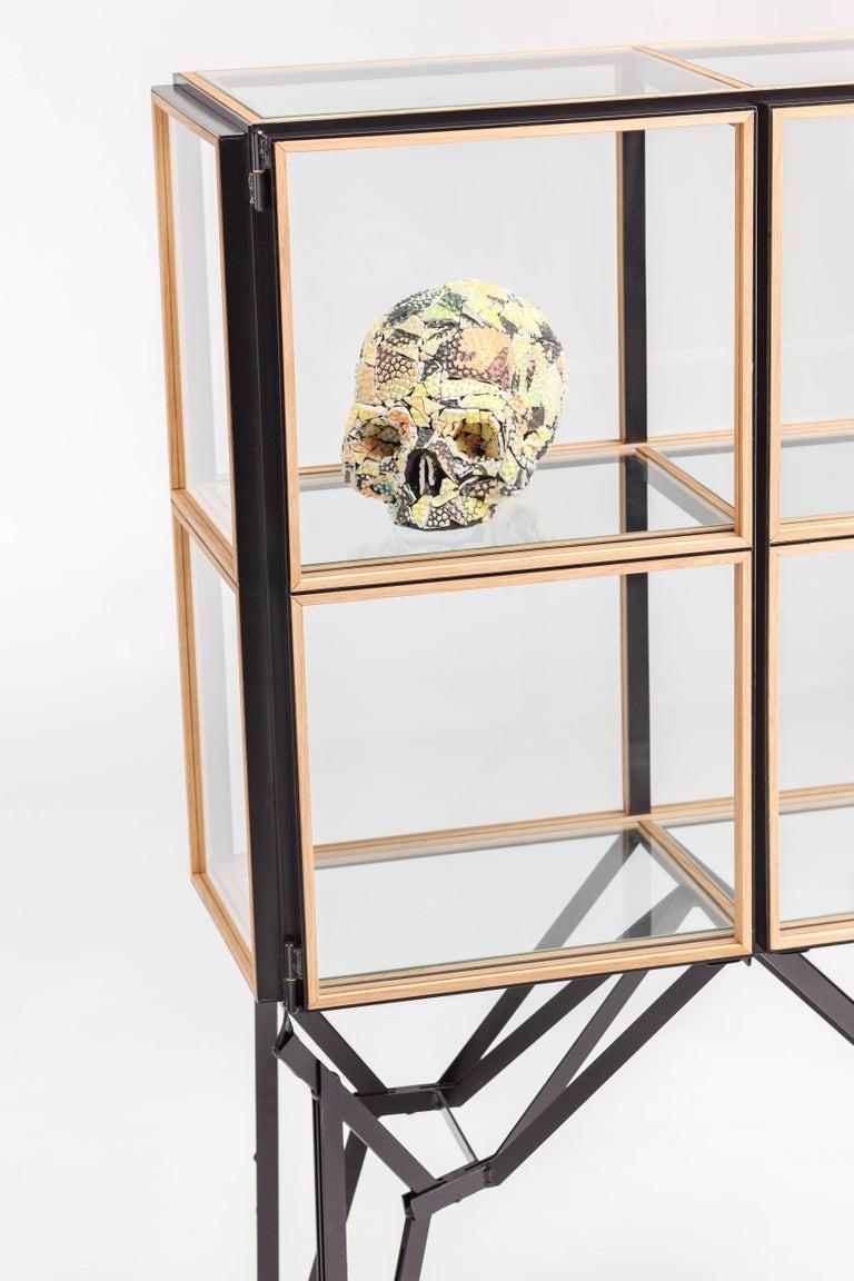 Hand-Crafted Blk Oak Showcase Cabinet by Paul Heijnen, Handmade in Netherlands For Sale