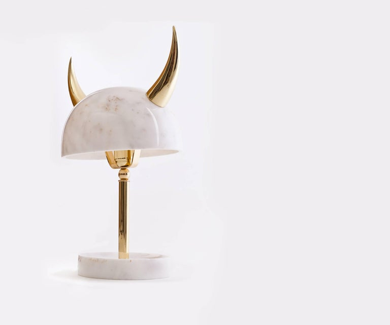 My Little Viking Marble and Brass Table Lamp by Merve Kahraman For Sale 3