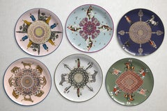 Set of 6 Costantinopoli Dinner Plates by Vito Nesta for Les Ottomans, Italy