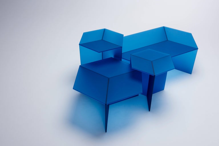 Tempered Isom Oblong Multi Side Table by Sebastian Scherer for Neo Craft, Made in Germany For Sale