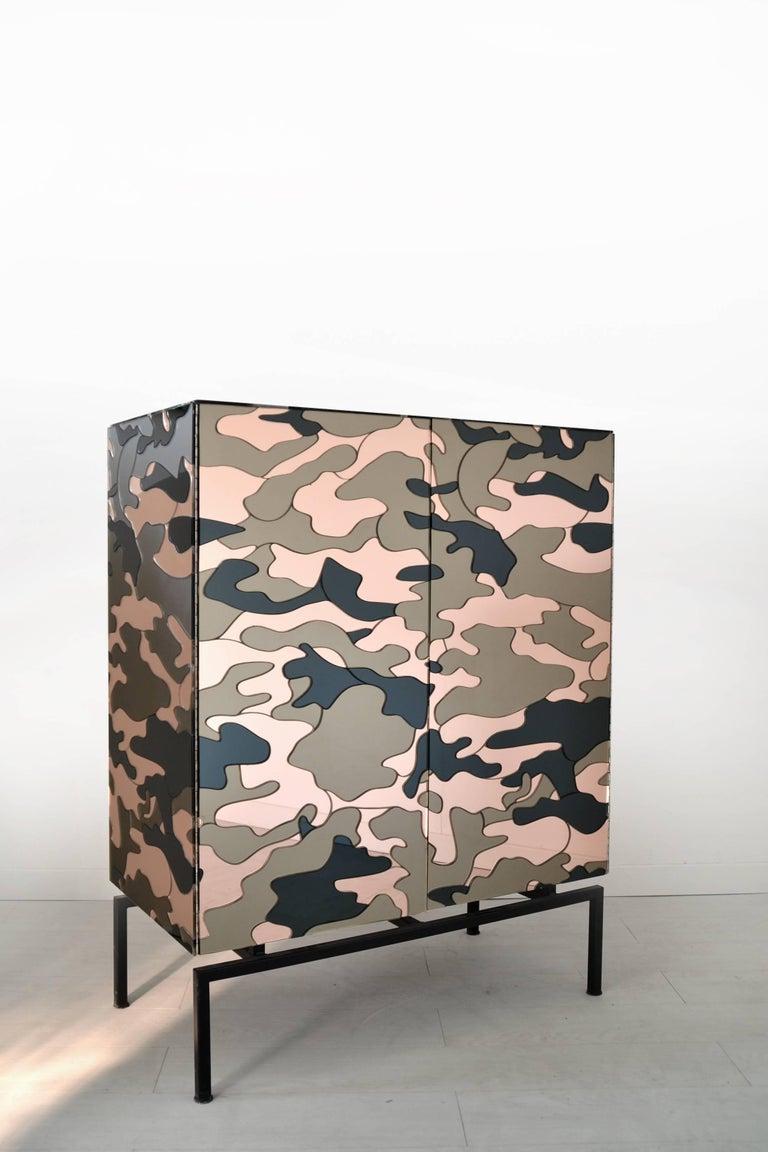 Galvanized Camouflage Cabinet, Unique Piece by Effetto Vetro For Sale