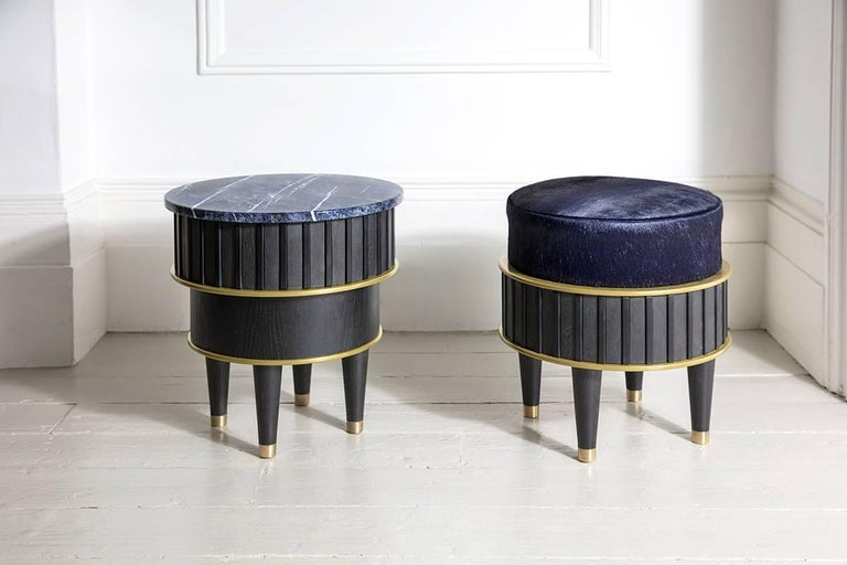 Contemporary Greta Sodalite Side Table by Felice James, 2017 For Sale