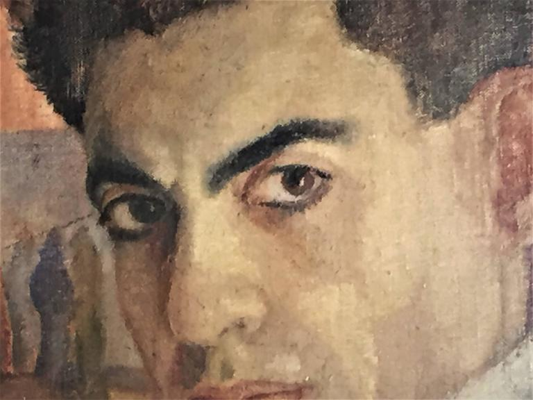 Although the artist's exact name has not been established, it can be said with certainty that this remarkable, artistically and psychologically very strong oil on board work belongs to the brush of a true professional in the field of portrait art