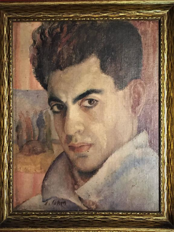 J. Cohen, Portrait of a Man, Oil Painting, circa 1950s In Good Condition For Sale In New York, NY