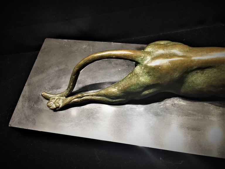 Early 20th Century Anna Hyatt Huntington, Yawning Panther, Bronze and Marble Sculpture, circa 1915 For Sale