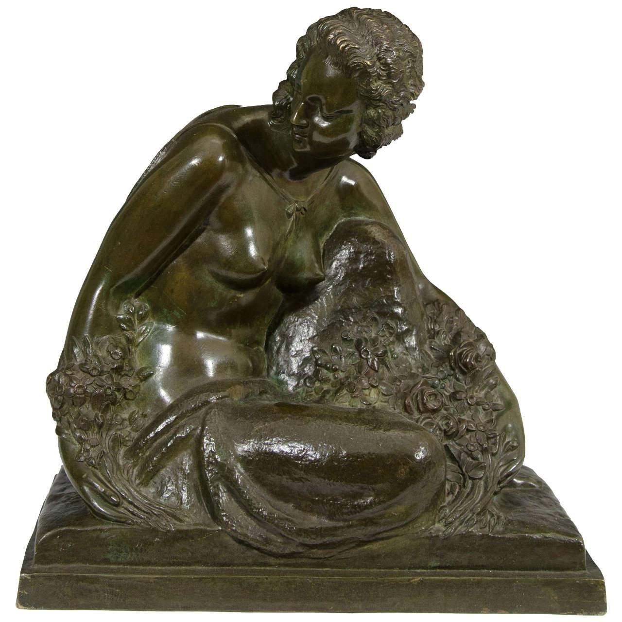Marcel-André Bouraine, Nude, French Art Deco Bronze Sculpture, circa 1920s