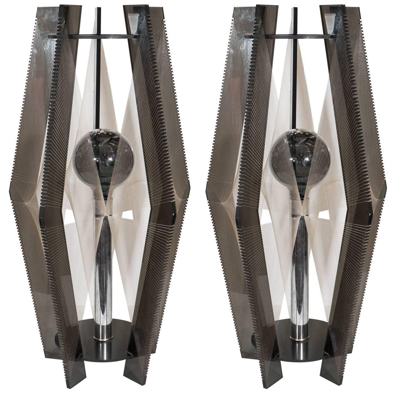 A Pair of Modernistic Smoked Lucite, Chrome and Threading Lamps, circa 1980s