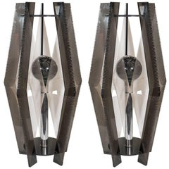 Pair of Modernistic Smoked Lucite and Chrome Lamps with Decorative Threading