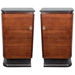 A Pair of American Streamlined Wood Bar Cabinets with Marble Tops, circa 1940s