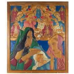 Karoly Fulop, The Baptism, Polychromed Ceramic Panel, circa 1950s