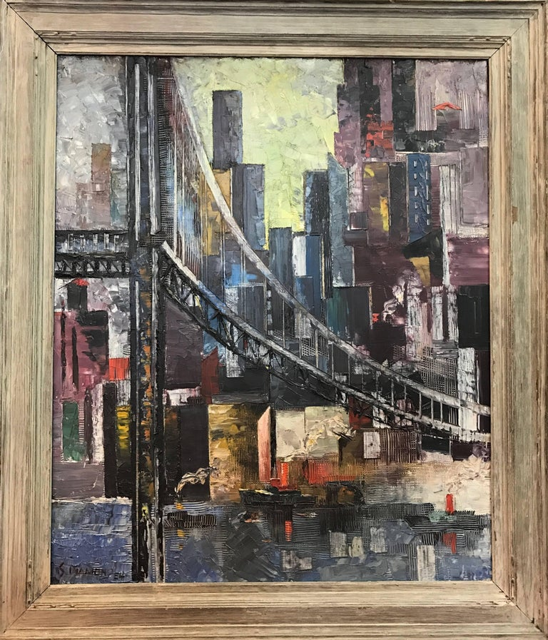 This is a double-sided painting -  Side 1: View of Manhattan, signed lower left and dated 1954. Side 2 (reverse): Genre scene with porters.  Dimensions: Unframed: 20.5 x 30.5 inches Framed: 32 x 37 inches  Sam Diamond, Polish/American (1919 -