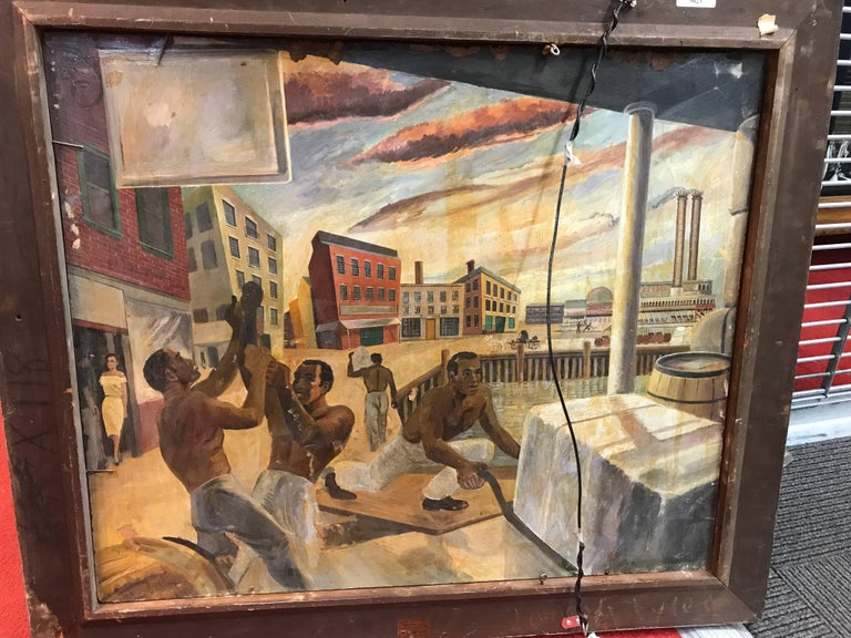 American Sam Diamond, View of Manhattan, Oil on Canvas Painting, circa 1954 For Sale