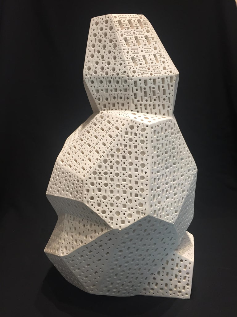 "Abstract sculptural composition. Perforated and painted terracotta.  Signature & 2012 Copyright on the bottom  Dimensions: H 15.25"", W 9"", D 8""  Alexander Ney (Russian, born in 1939 in Leningrad, Russia) is an American sculptor and painter. He"
