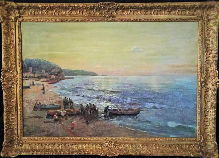 Federico Morello (Italian, 1875-1938) was a known artist, famous for depicting seascapes, genre scenes, architecture and nature of Southern Italy. This beautiful oil painting on canvas depicts a group of fishermen with their boats ashore after the