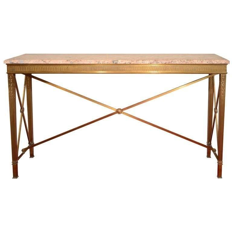 American Art Deco Bronze and Marble Console Table, circa 1920s