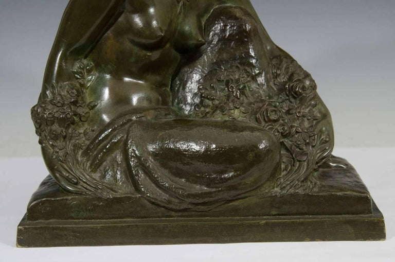 Marcel-André Bouraine, Nude, French Art Deco Bronze Sculpture, circa 1920s In Excellent Condition For Sale In New York, NY