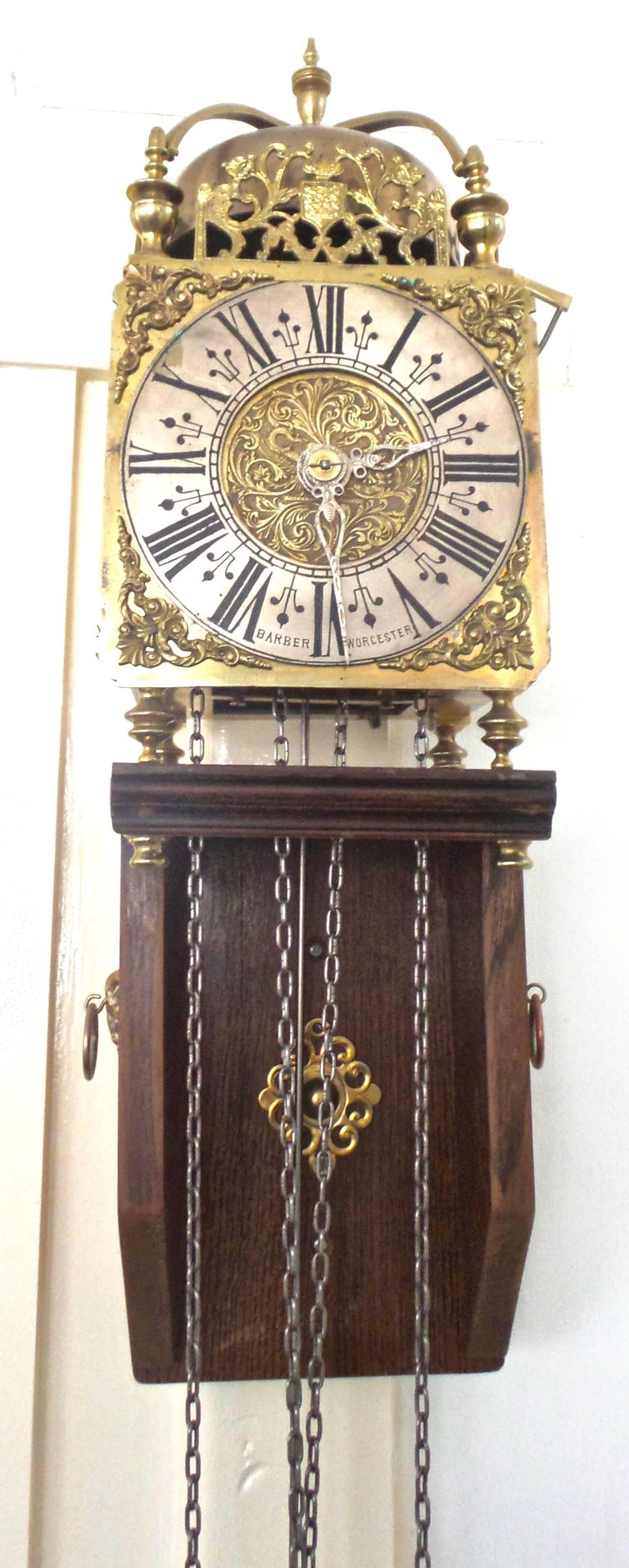 1801 English Brass Lantern Striking Wall Clock And Oak