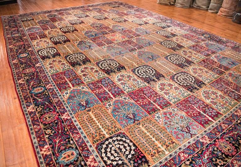 Large Antique Garden Design Persian Kerman Rug For Sale At