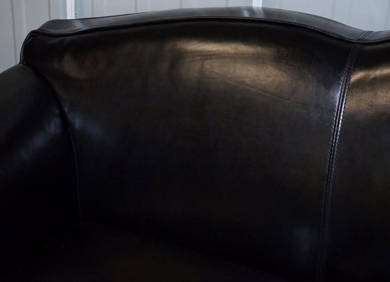 Hand-Crafted Pair of IPE Cavalli Nella Vatrina Black Leather Four Seater Sofas Made in Italy