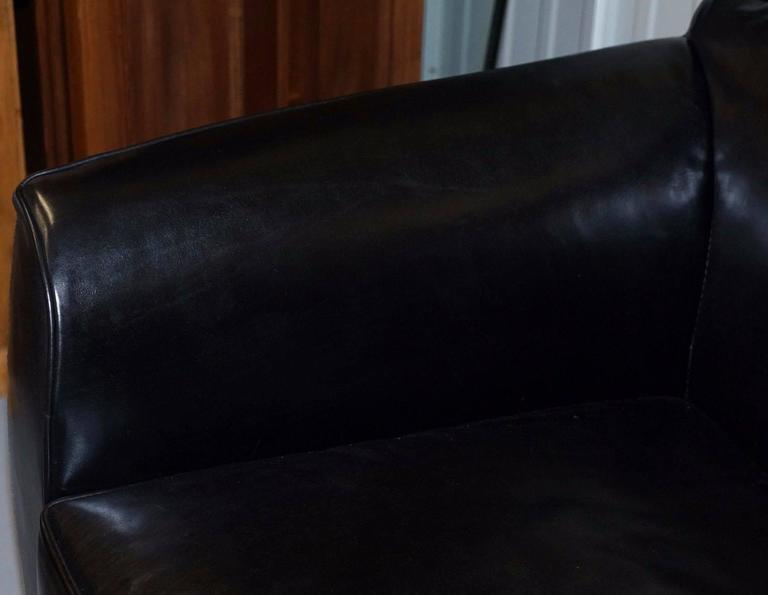 Pair of IPE Cavalli Nella Vatrina Black Leather Four Seater Sofas Made in Italy In Good Condition In London, GB