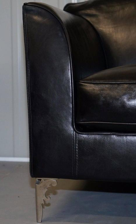 Contemporary Pair of IPE Cavalli Nella Vatrina Black Leather Four Seater Sofas Made in Italy