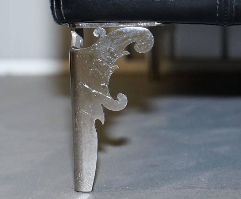 Pair of IPE Cavalli Nella Vatrina Black Leather Four Seater Sofas Made in Italy 1