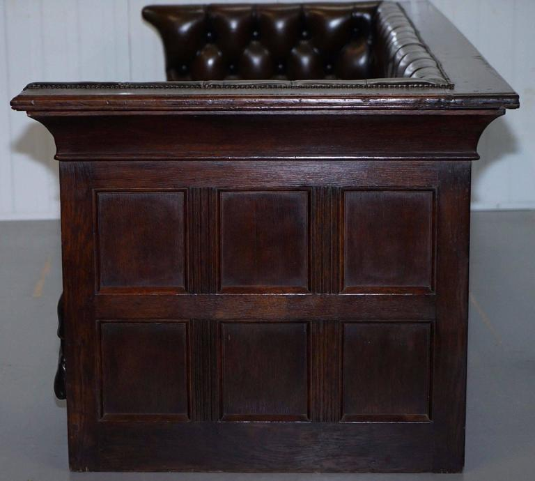 Leather Sofas Preston Lancashire: Restored Mission Arts And Crafts Panelled Oak Chesterfield