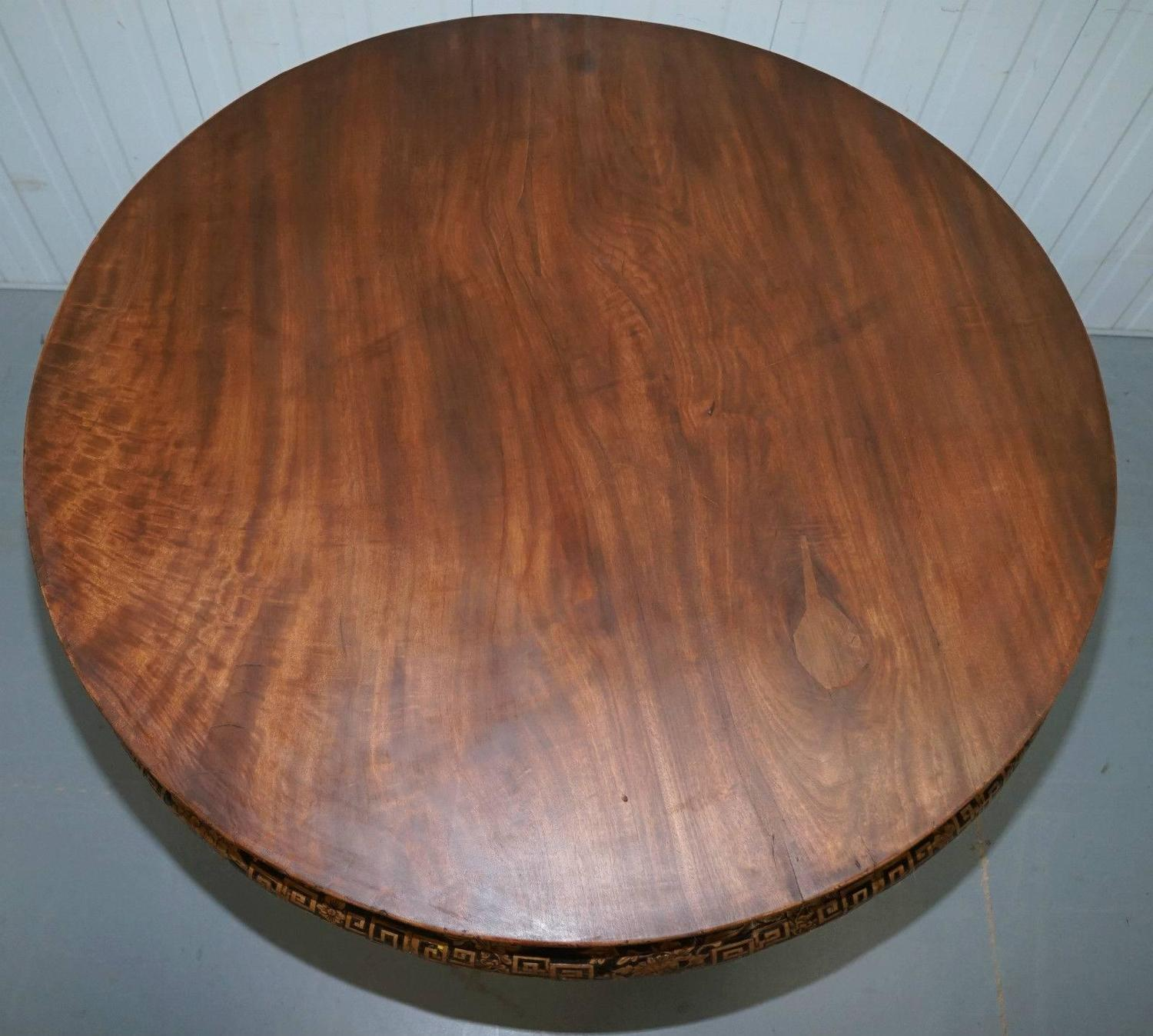 Rare 19th Century Chinese Hand Carved Padouk Dining Center Table Stunning Patina