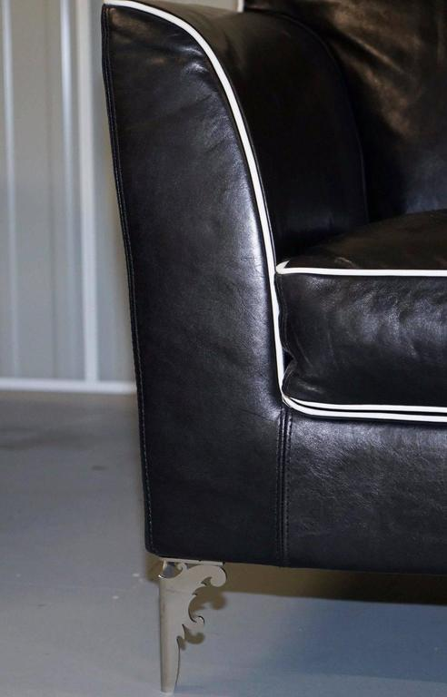 Pair of IPE Cavalli Nella Vertrina Avalon black leather Contemporary armchairs  For Sale 2