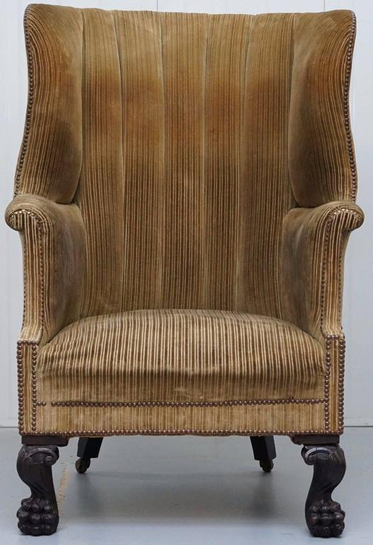 King George III 18th Century Barrel Back Lion Hairy Paw Carved Foot  Armchair 2