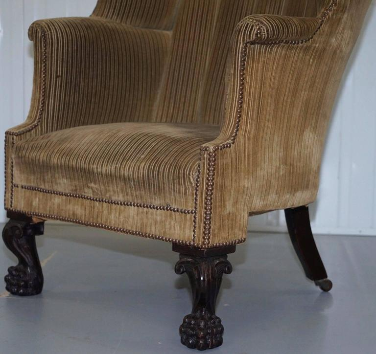 King George III 18th Century Barrel Back Lion Hairy Paw Carved Foot  Armchair 3