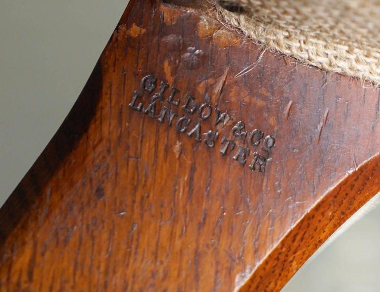 Rare Fully Stamped Original Gillows of Lancaster Fully Restored Librar Armchair In Excellent Condition For Sale In London, GB