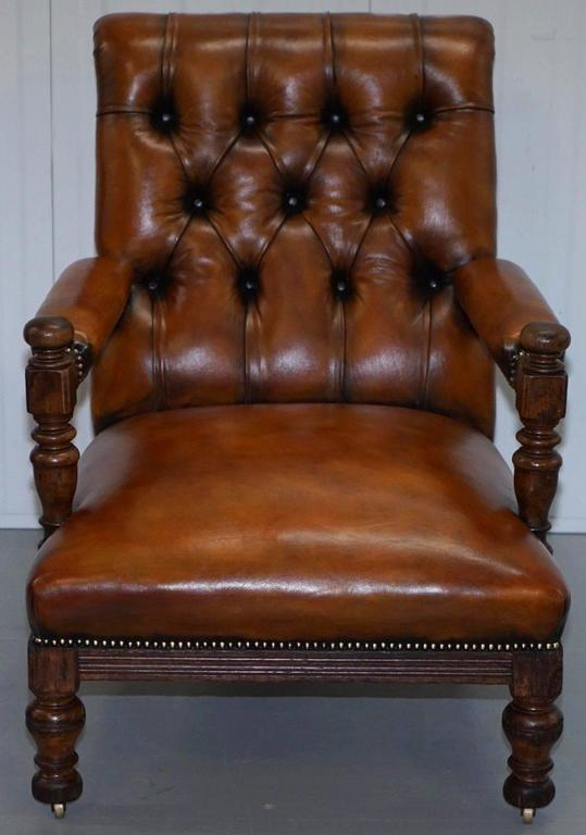 19th Century Rare Fully Stamped Original Gillows of Lancaster Fully Restored Librar Armchair For Sale