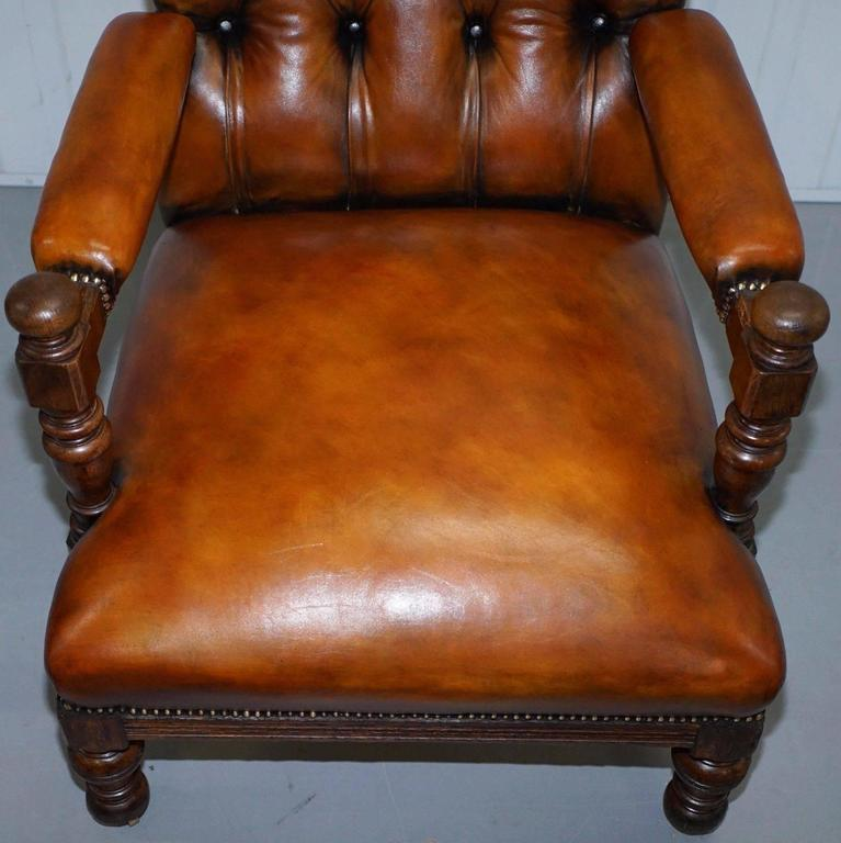 Leather Rare Fully Stamped Original Gillows of Lancaster Fully Restored Librar Armchair For Sale