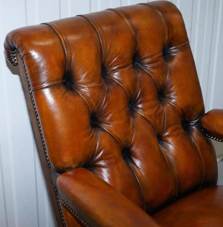 Rare Fully Stamped Original Gillows of Lancaster Fully Restored Librar Armchair For Sale 1