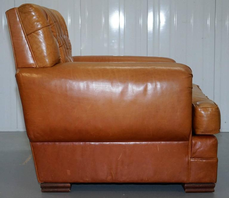Modern Ralph Lauren Armchair Aged Tan Brown Vintage Distressed Leather Very Rare Find For Sale