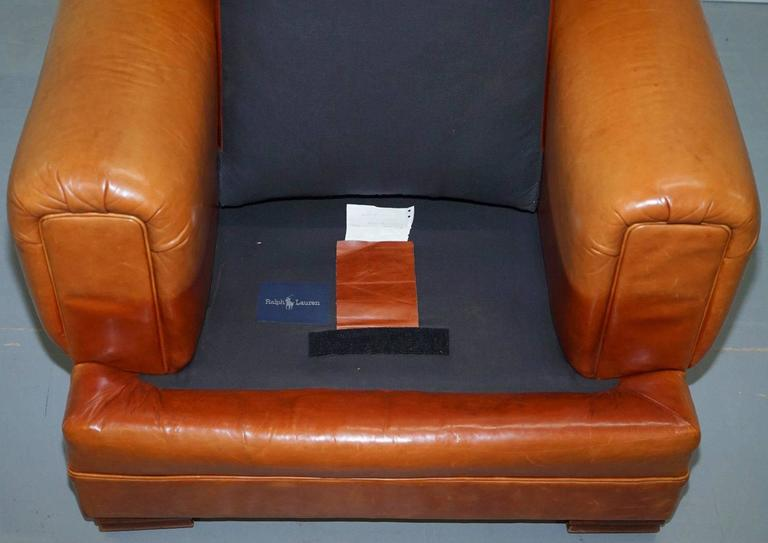 Hand-Carved Ralph Lauren Armchair Aged Tan Brown Vintage Distressed Leather Very Rare Find For Sale