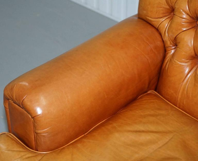Ralph Lauren Armchair Aged Tan Brown Vintage Distressed Leather Very Rare Find In Good Condition For Sale In London, GB